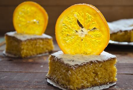Orange cake with caramelized oranges