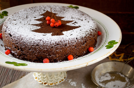 homemade cake: Homemade chocolate Christmas cake sprinkled with sugar powder and decorated rowan