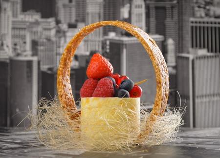 newyork: Mini cheesecake New-York with white chocolate and fresh berries. Selective focus Stock Photo