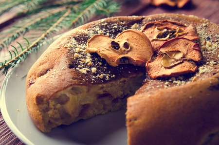 dry fruits: Apple cake with dry fruits, Christmas decoration. Selective focus
