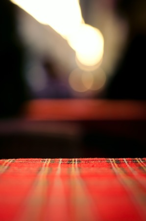 resturant: Empty red table and blur resturant background, street view, abstract