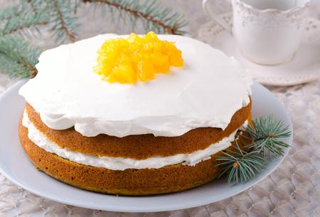 Pumpkin cake with jam, Christmas decoration. Selective focus