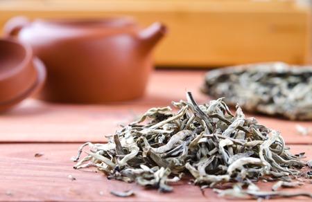 white tea: Chinese pressed white tea, silver needle. Selective focus