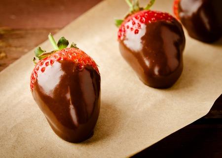 chocolate covered strawberries: Fresh gourmet chocolate covered strawberries, for Valentines Day Stock Photo