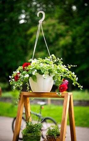 Flores de colores en macetas colgantes, sobre un soporte de madera, jardín de verano Foto de archivo - 66283480