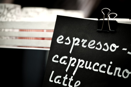 choise: Espresso, cappuccino, latte sign. Hand drawing price text on black chalkboard, cooffee choise concept.