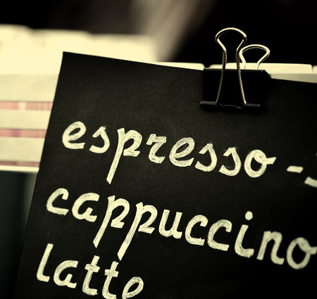 choise: Espresso, cappuccino, latte sign, toned. Hand drawing price text on black chalkboard, cooffee choise concept.