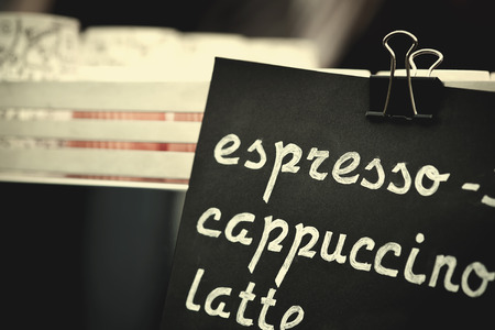 choise: Espresso, cappuccino, latte sign. Hand drawing price text on black chalkboard, cooffee choise concept Stock Photo