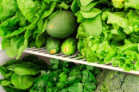 Greens, fruits and vegetables in fridge. Vegan, vegetarian, raw healthy lifestyle concept. Horizontal
