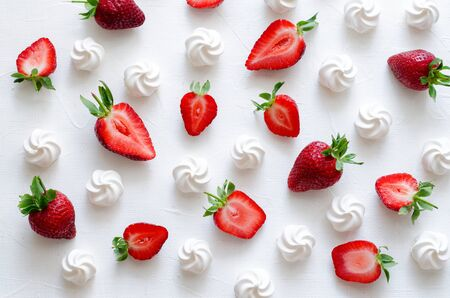 Pattern with strawberries and meringues on white background. Horizontal