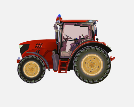 agronomics: Vector illustration of a tractor for work in agriculture