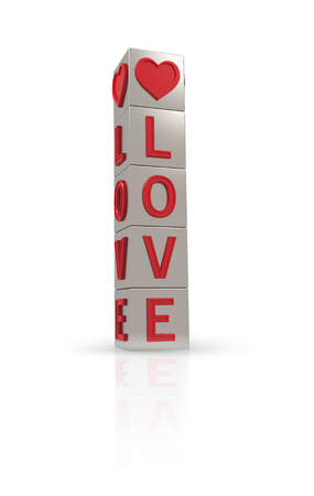 inseparable: Metal banner with the word love on a white background Stock Photo