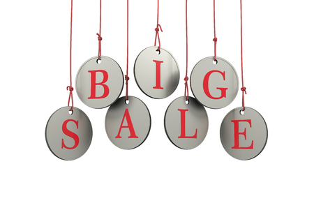 dangling: Dangling coins with the word big sale on a white background