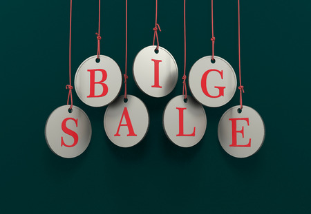 dangling: Dangling coins with the word big sale on a green and white background