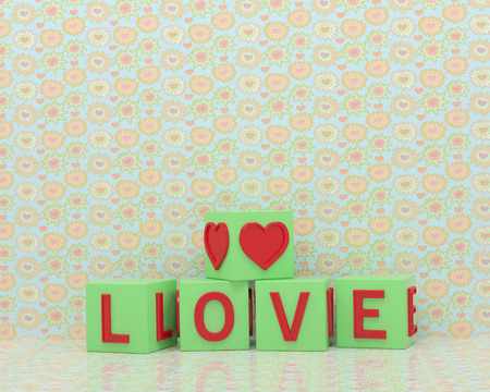 inseparable: Green-light green cubes with the word love on the background