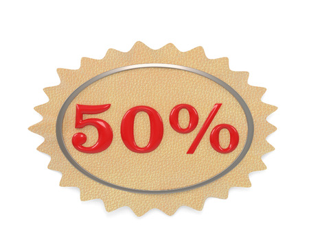give away: Discount leather, illustration from the 50 mark on a white background Stock Photo