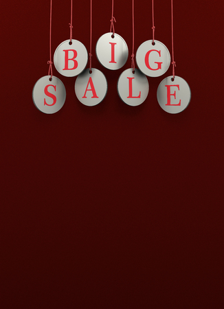 Dangling coins with the word big sale on a red background
