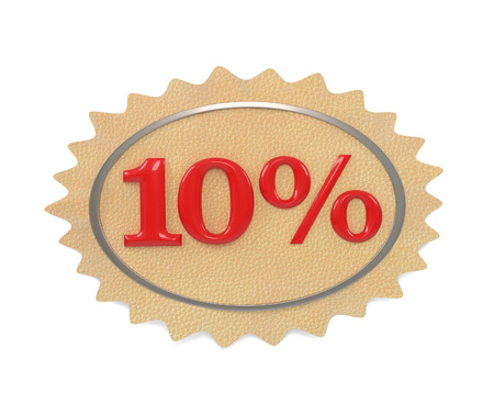 give away shop: Discount leather, illustration from the 10 mark on a white background