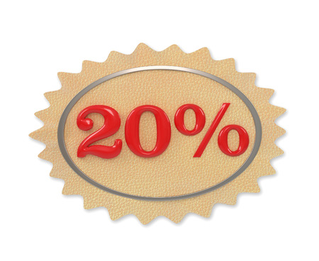 give away shop: Discount leather, illustration from the 20 mark on a white background