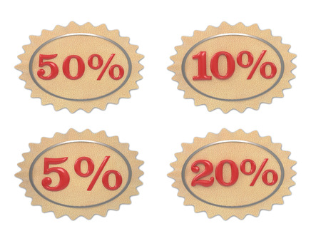 give away: Discount leather, illustration from the 5-50 mark on a white background
