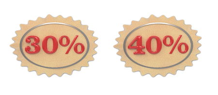 30 to 40: Discount leather, illustration from the 30, 40 mark on a white background