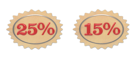 give away: Discount leather, illustration from the 15-25 mark on a white background Stock Photo