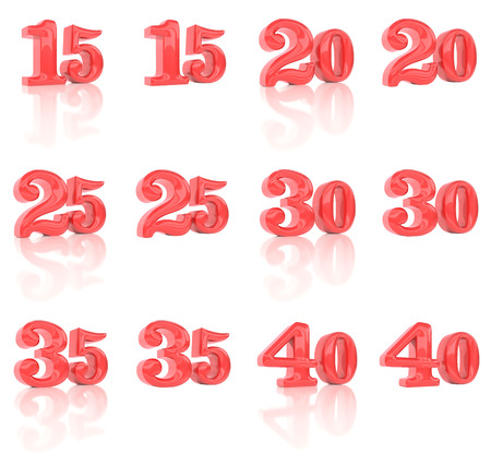 age 30 35 years: The numbers in the three-dimensional image 15 to 40 on a white background Stock Photo