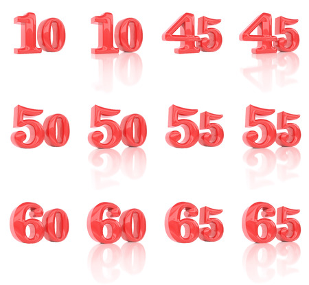 50 to 55 years: The numbers in the three-dimensional image 10 to 65 on a white background