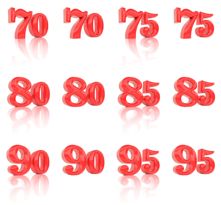 75 80: The numbers in the three-dimensional image 70 to 95 on a white background Stock Photo