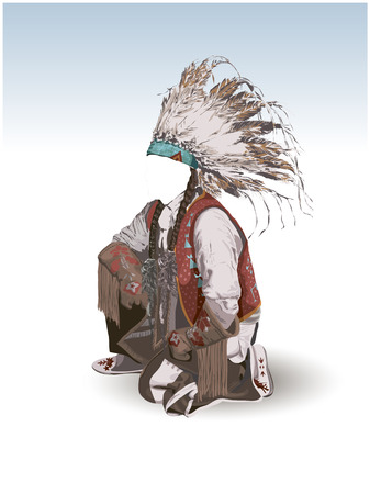 north american: Clothing North American Indian and a place in the face