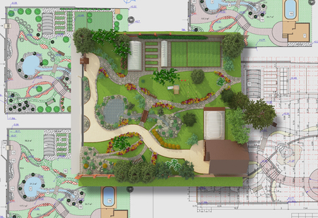 architect drawing: Landscape architect design traditional chinese garden plan.