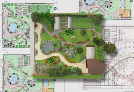 garden lawn: Landscape architect design traditional chinese garden plan.