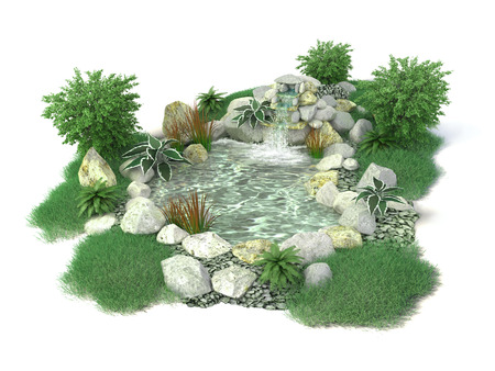 Decorative pond on a white background in 3D for inserts