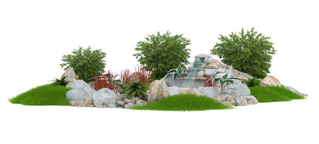 brook: 3D illustration of a decorative pond on a white background Stock Photo