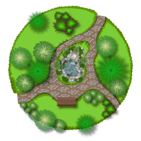 3D-Darstellung eines dekorativen Teich auf einem weißen Hintergrund
