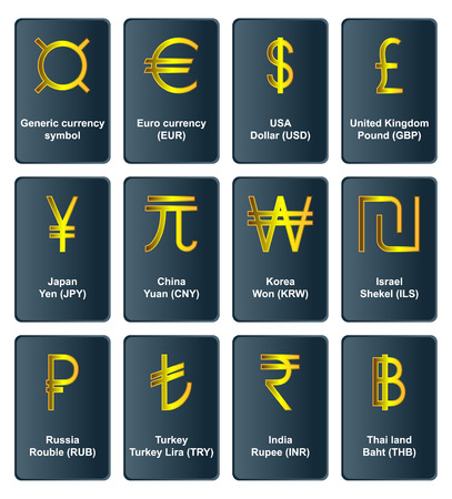 currencies: Golden symbols of world currencies in the frame
