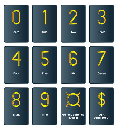 exclusive collection: Collection - Golden currency symbols of the world - the number of