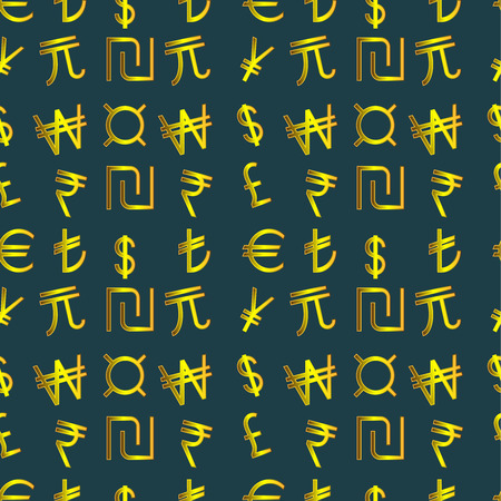 currencies: Seamless pattern - Symbols of currencies in the world on a dark background