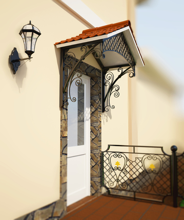entrance: 3D illustration wrought a canopy over the entrance