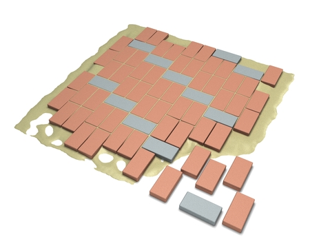 bricklaying: 3D rendering process, paving laying on a white background Stock Photo