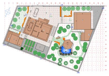 projet d'aménagement paysager dans la planification d'un jardin privé
