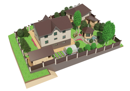 architect drawing: 3D rendering of landscape design of the garden area