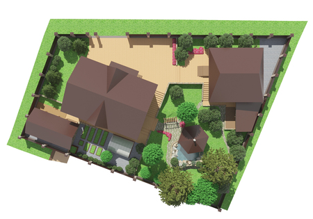 3D-rendering van het landschap ontwerp van de tuin Stockfoto