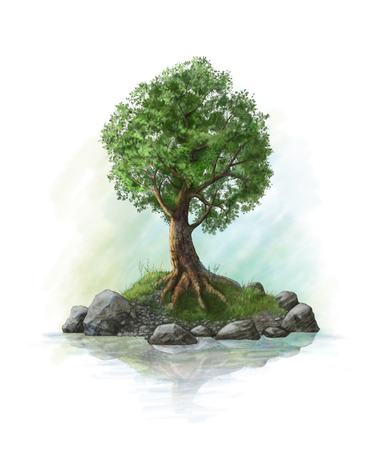 oasis: Illustration of a tree on an island. Drawing by hand.