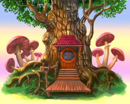 A fairy-tale house in a tree. The illustration on a purple background. Stock Illustration - 85035051