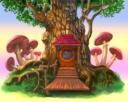 Una casa de cuento de hadas en un árbol. La ilustración en un fondo púrpura. Foto de archivo - 85035051