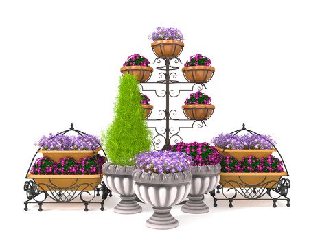 3d illustration of a street flower bed on a white background. Flower beds. Stock Photo