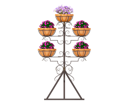 Metal forged flower pot on a white background. 3d rendering.