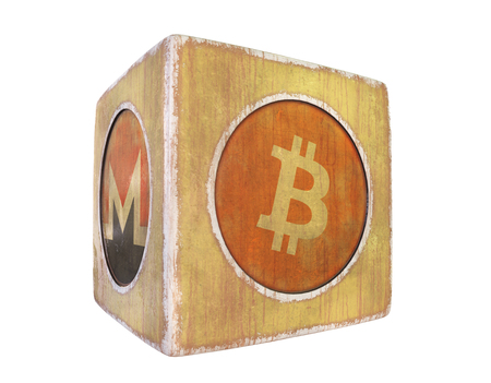 Vintage cube with the image of cryptocurrency on a dark background. 3d rendering. Isolated object. Stock Photo