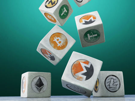 Falling vintage cubes with the image of a crypto currency on a dark background. 3d rendering.